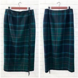 Talbots Plaid Long Wool Skirt
